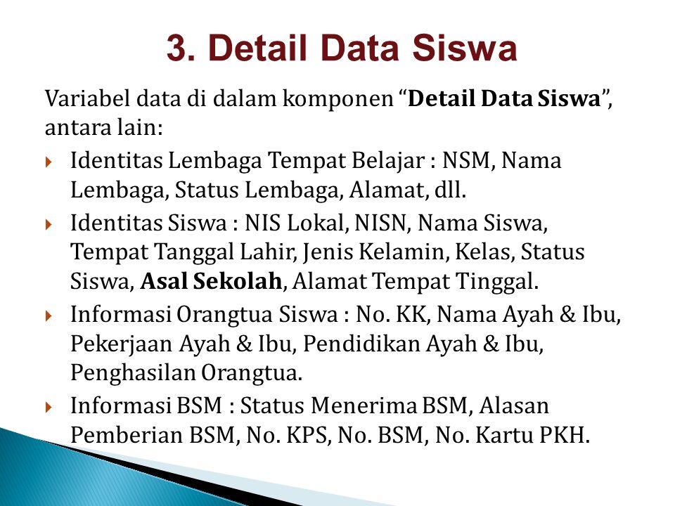 3. Detail Data Siswa Variabel data di dalam komponen Detail Data Siswa , antara lain: