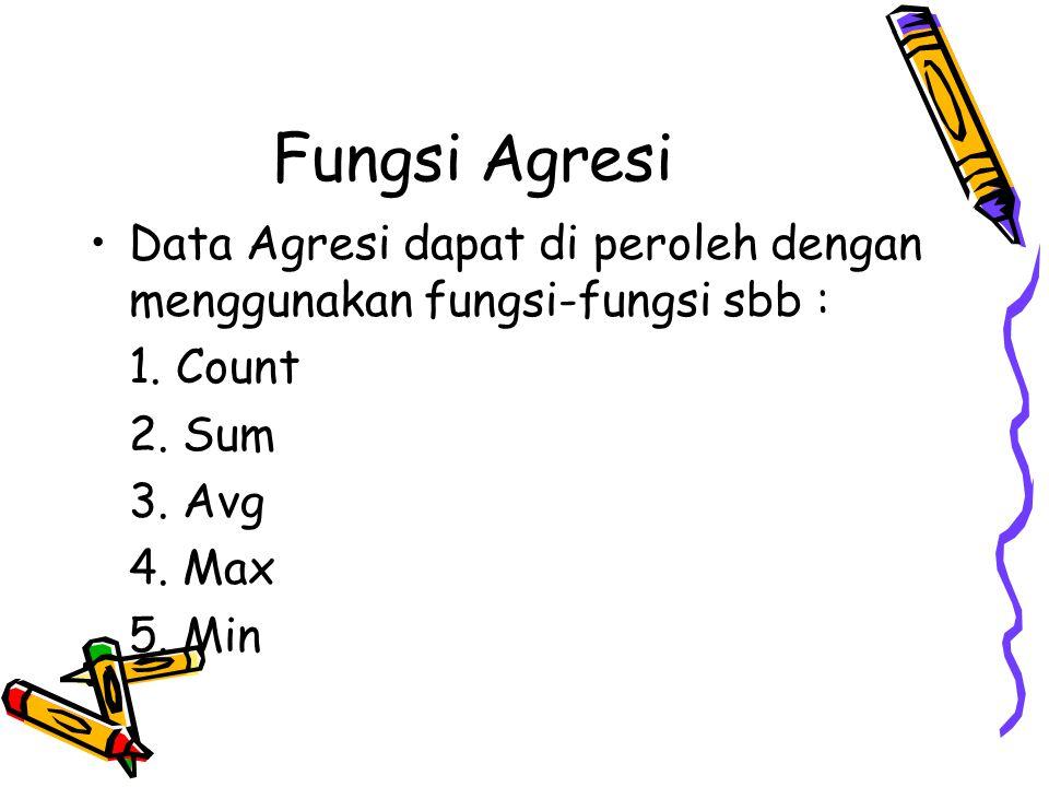 Fungsi Agresi Data Agresi dapat di peroleh dengan menggunakan fungsi-fungsi sbb : 1. Count. 2. Sum.