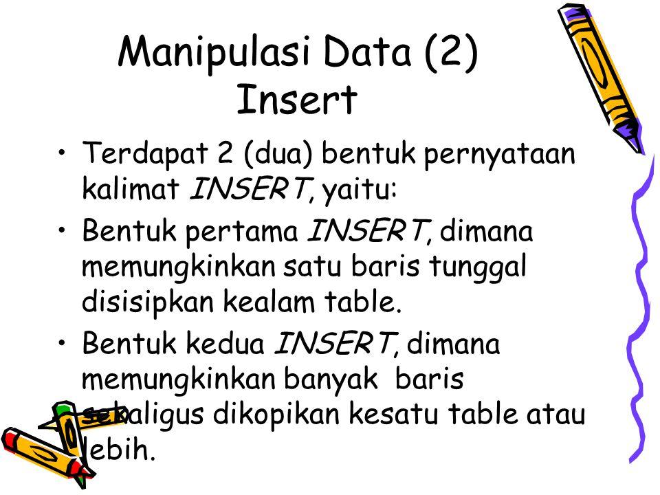 Manipulasi Data (2) Insert