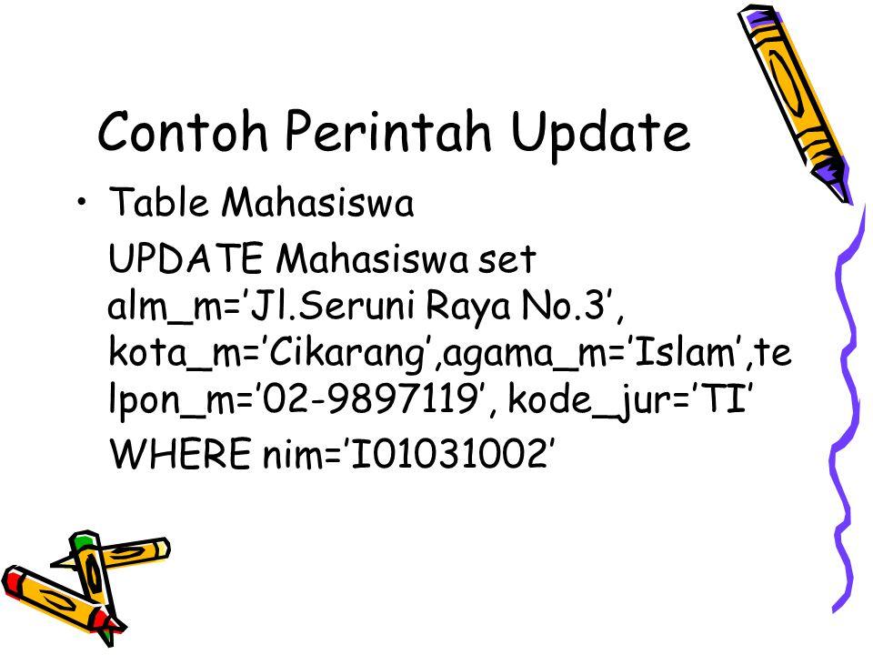 Contoh Perintah Update