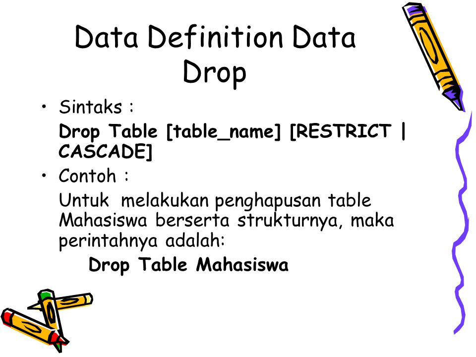 Data Definition Data Drop