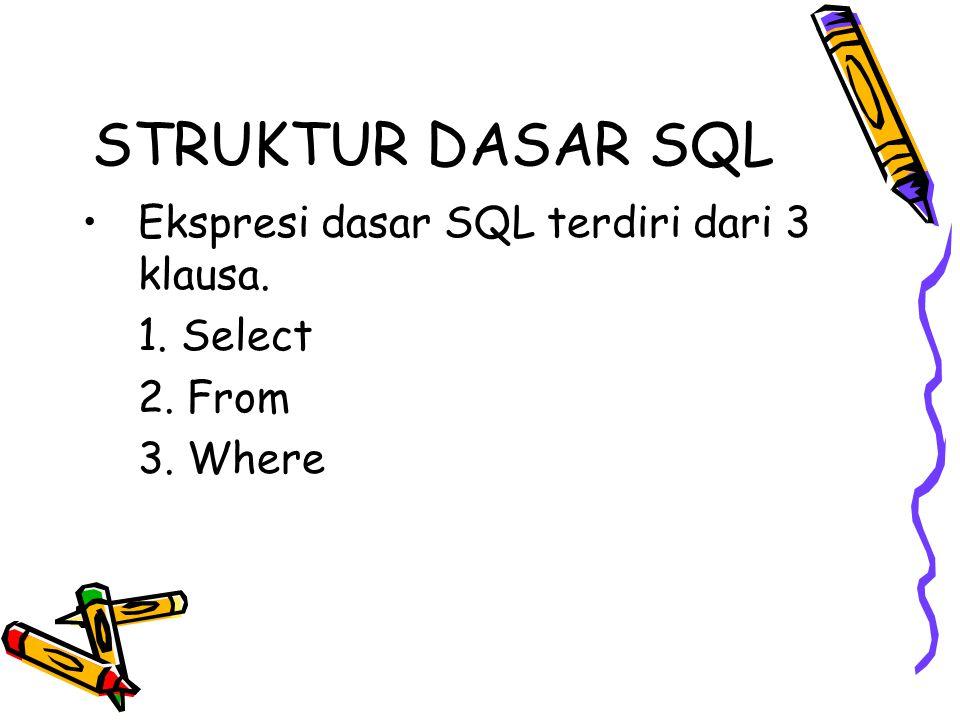 STRUKTUR DASAR SQL Ekspresi dasar SQL terdiri dari 3 klausa. 1. Select