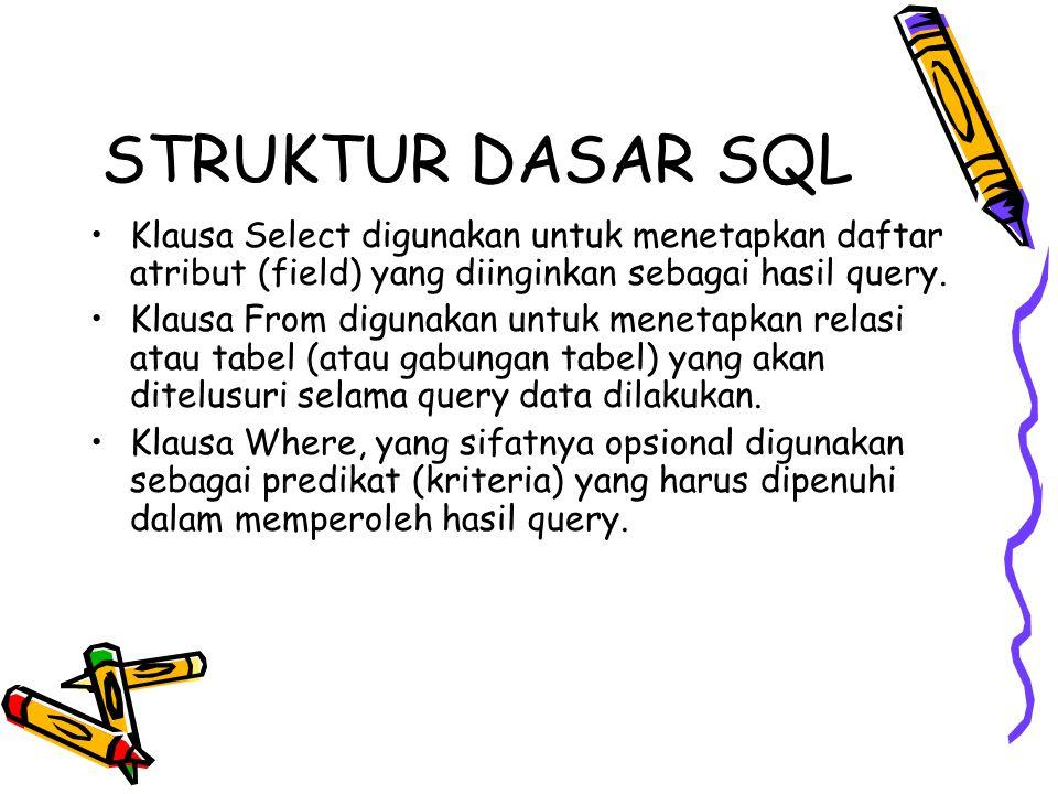 STRUKTUR DASAR SQL Klausa Select digunakan untuk menetapkan daftar atribut (field) yang diinginkan sebagai hasil query.