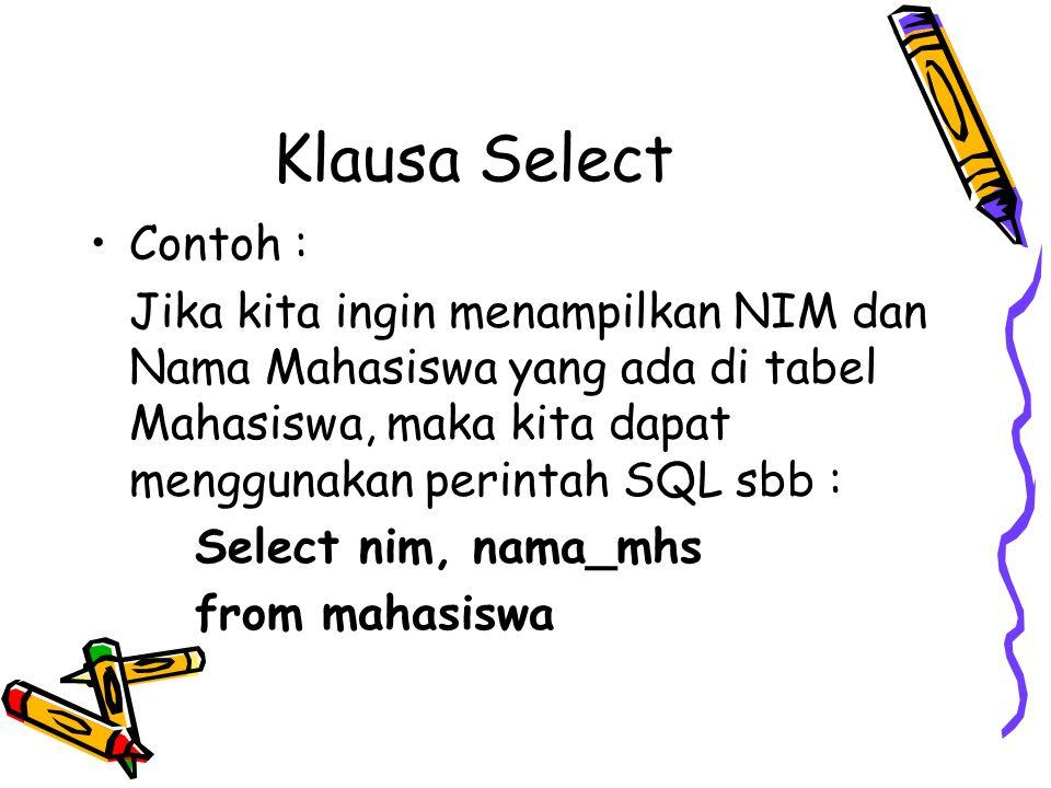 Klausa Select Contoh :