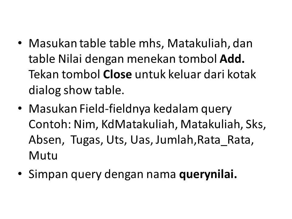 Masukan table table mhs, Matakuliah, dan table Nilai dengan menekan tombol Add. Tekan tombol Close untuk keluar dari kotak dialog show table.