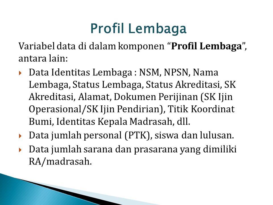 Profil Lembaga Variabel data di dalam komponen Profil Lembaga , antara lain: