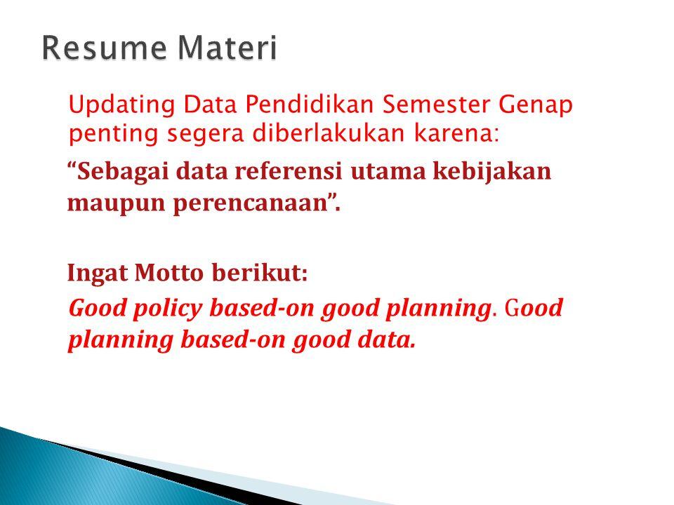 Resume Materi Updating Data Pendidikan Semester Genap penting segera diberlakukan karena: