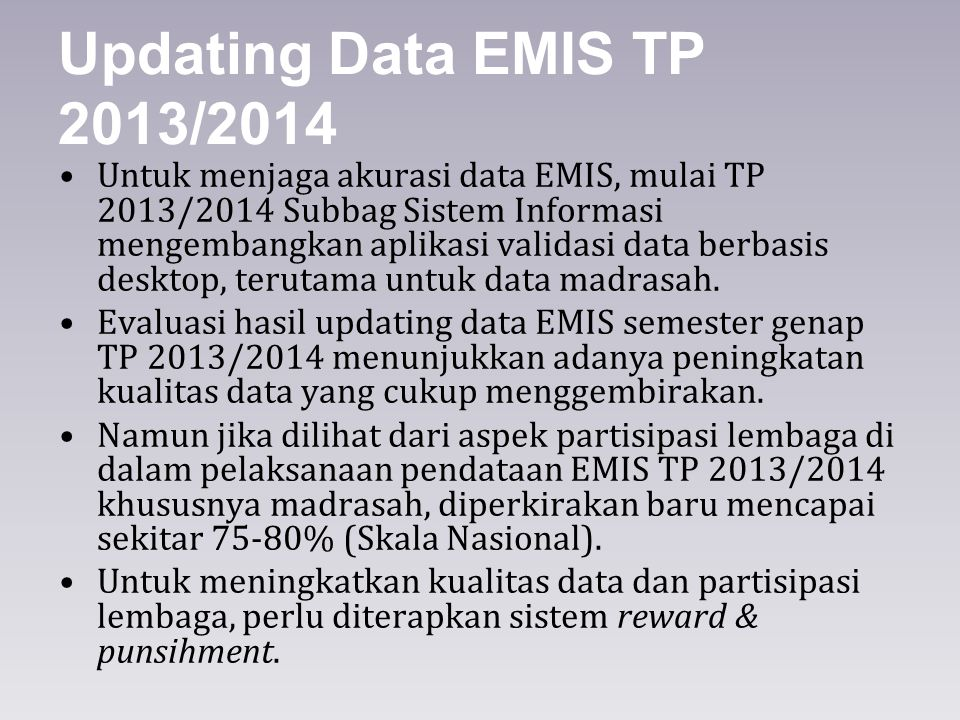 Updating Data EMIS TP 2013/2014