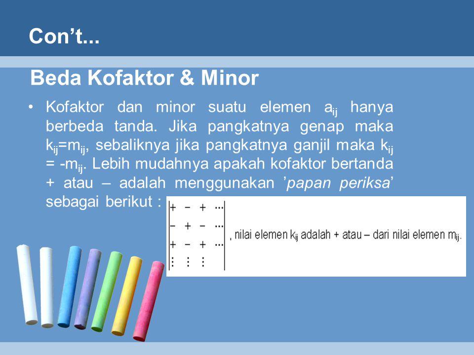 Con't... Beda Kofaktor & Minor