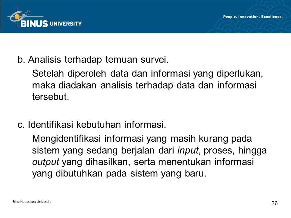 b. Analisis terhadap temuan survei.