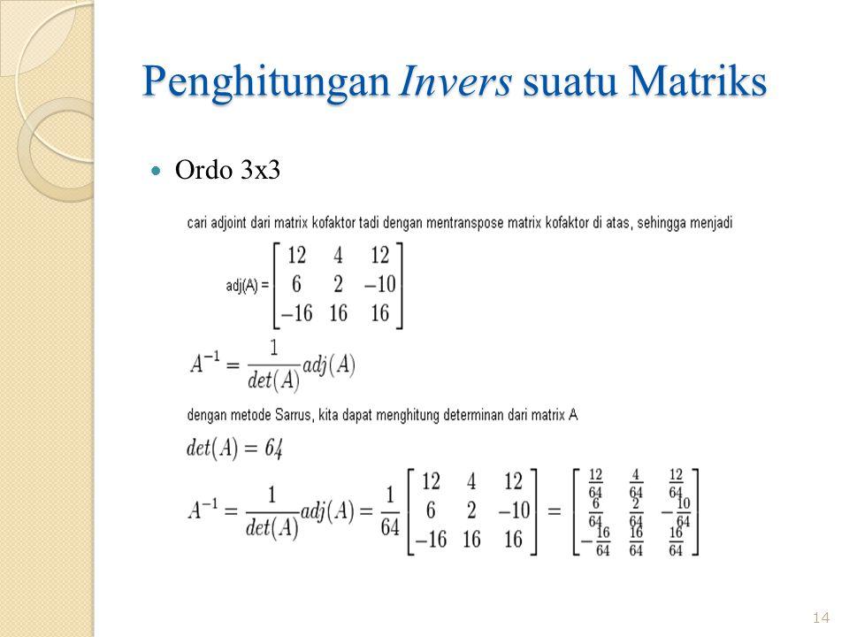 Penghitungan Invers suatu Matriks