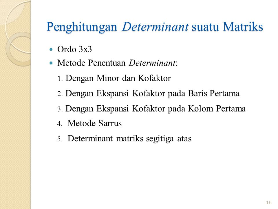 Penghitungan Determinant suatu Matriks