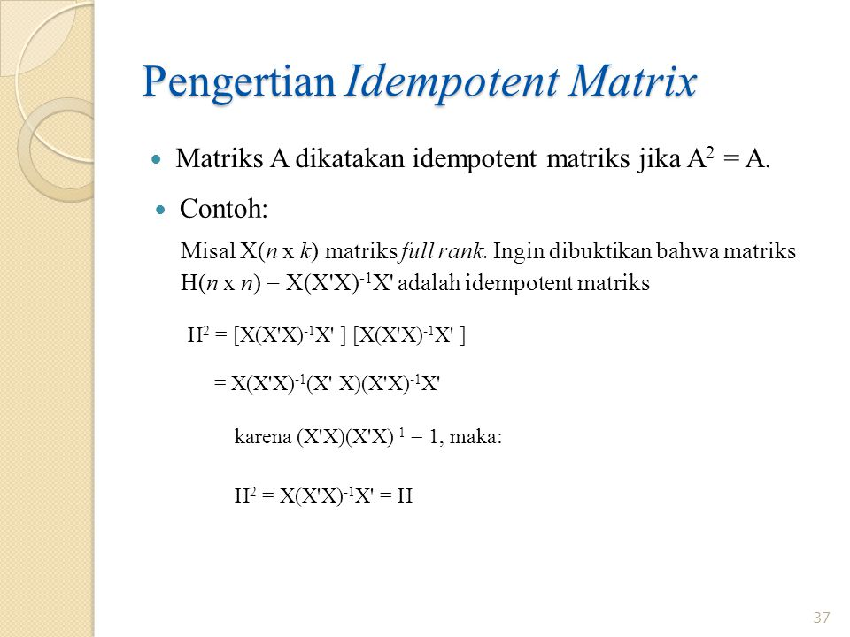Pengertian Idempotent Matrix