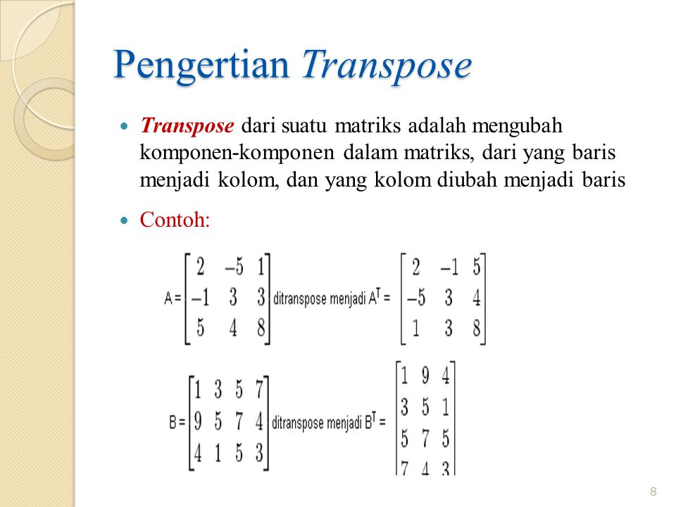 Pengertian Transpose