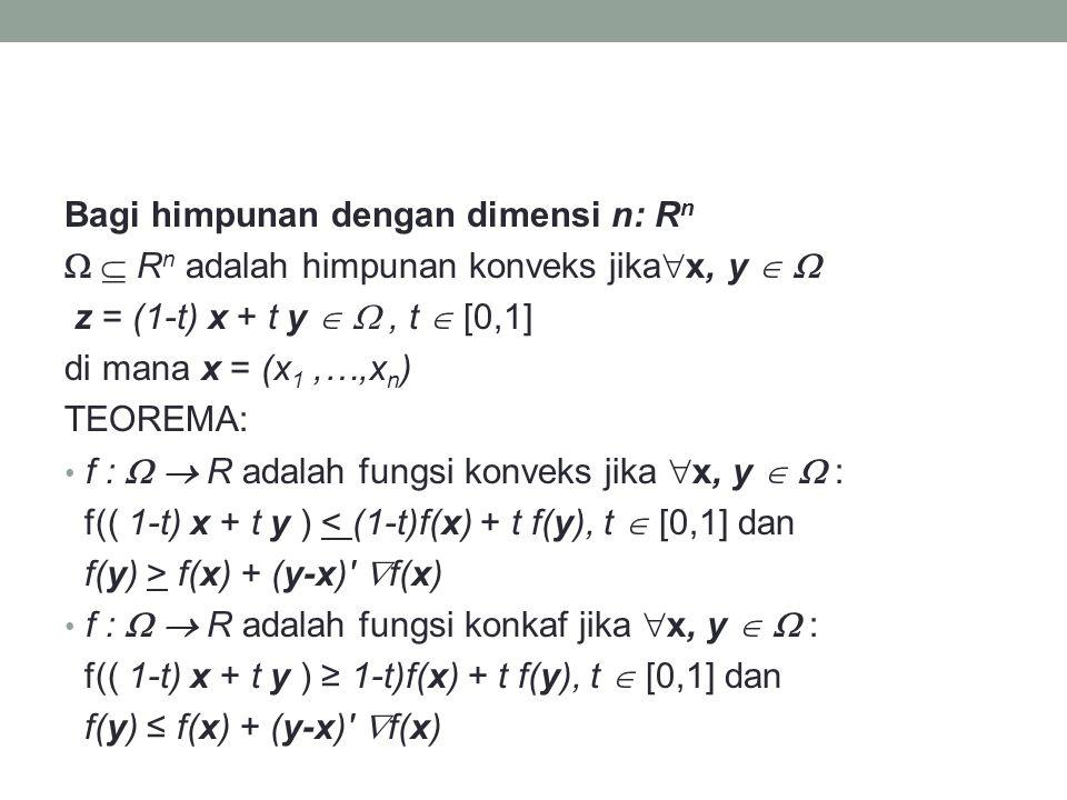 Bagi himpunan dengan dimensi n: Rn