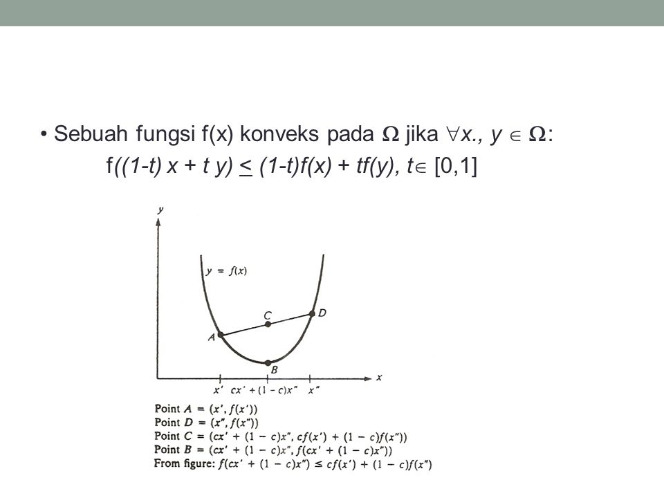 • Sebuah fungsi f(x) konveks pada  jika x., y  :