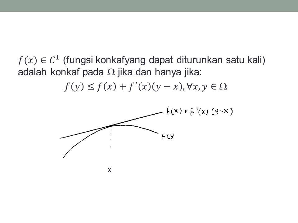 𝑓(𝑥)∈ 𝐶 1 (fungsi konkafyang dapat diturunkan satu kali) adalah konkaf pada  jika dan hanya jika: