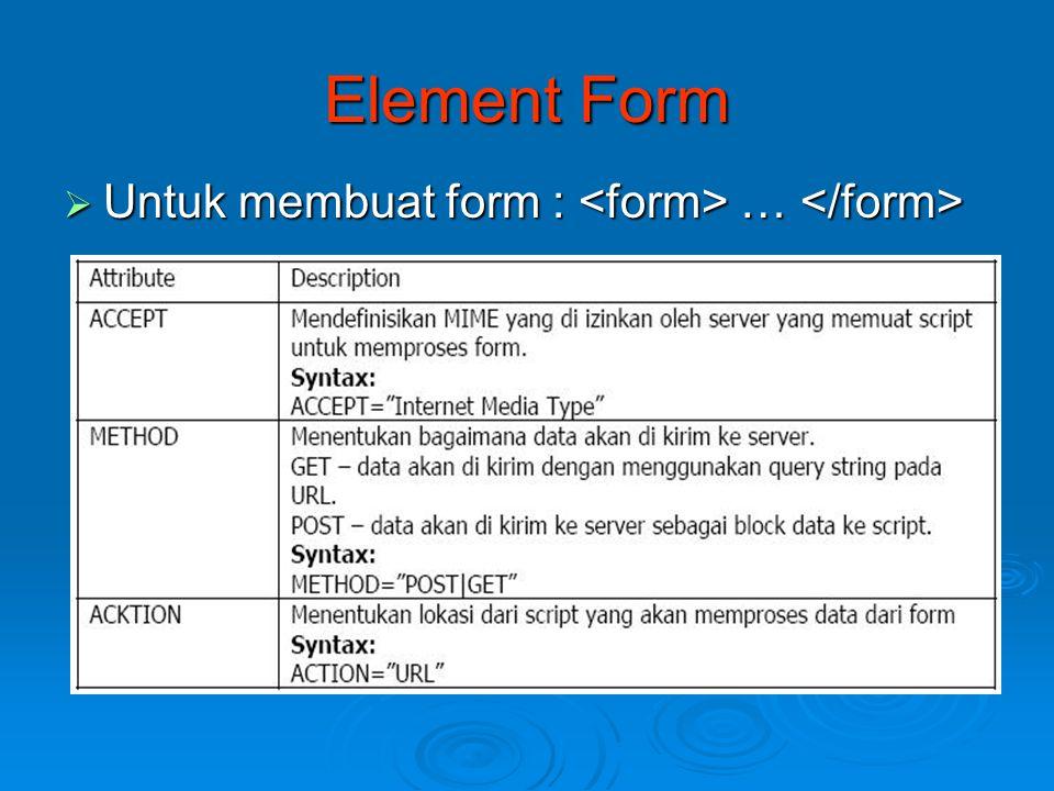 Element Form Untuk membuat form : <form> … </form>