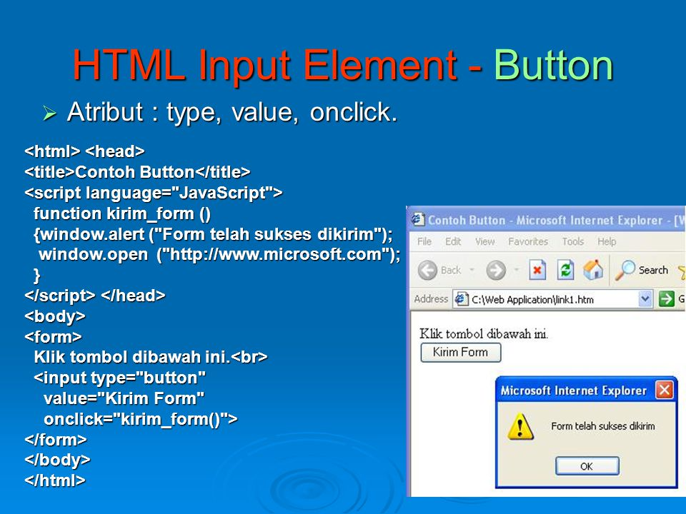 HTML Input Element - Button