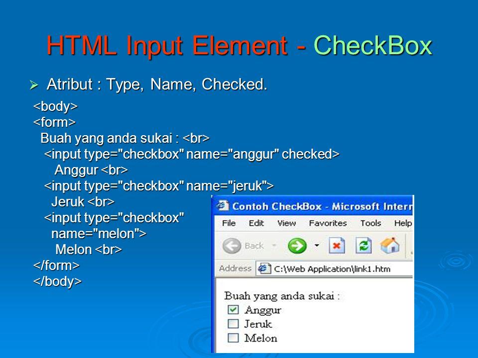 HTML Input Element - CheckBox