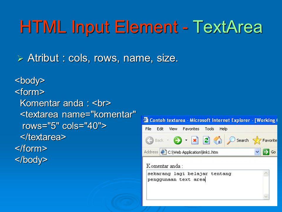 HTML Input Element - TextArea