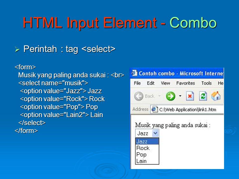 HTML Input Element - Combo