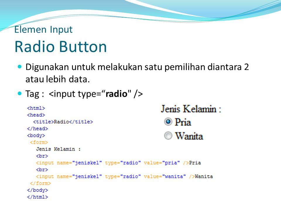 Elemen Input Radio Button