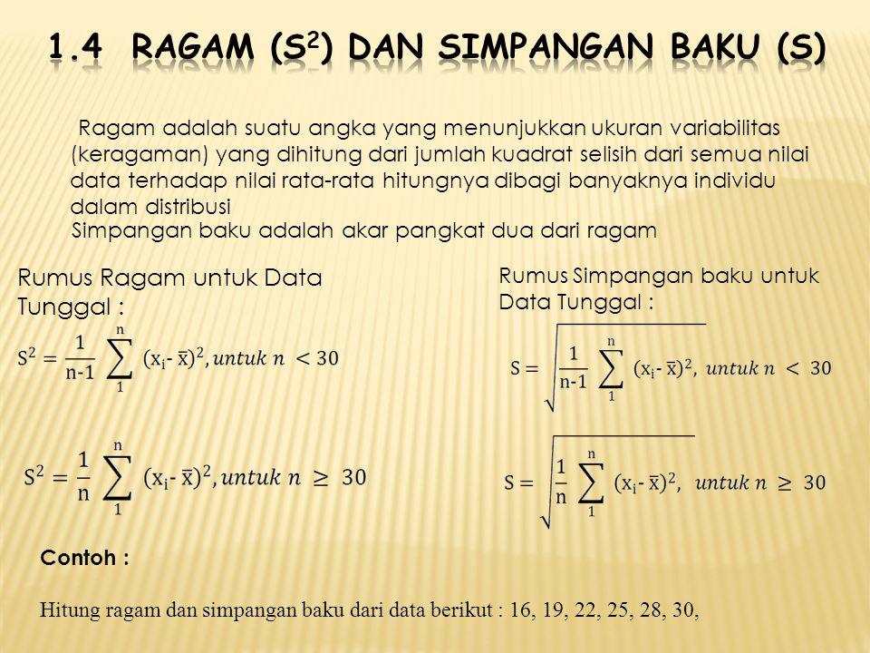1.4 Ragam (S2) dan simpangan baku (s)