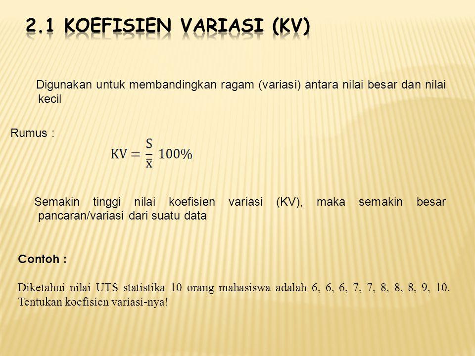 2.1 Koefisien variasi (kv)