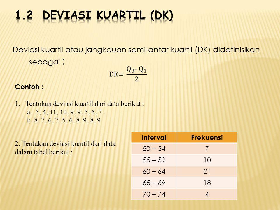 1.2 Deviasi Kuartil (DK) Deviasi kuartil atau jangkauan semi-antar kuartil (DK) didefinisikan sebagai :