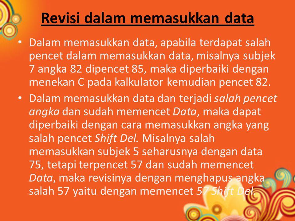 Revisi dalam memasukkan data