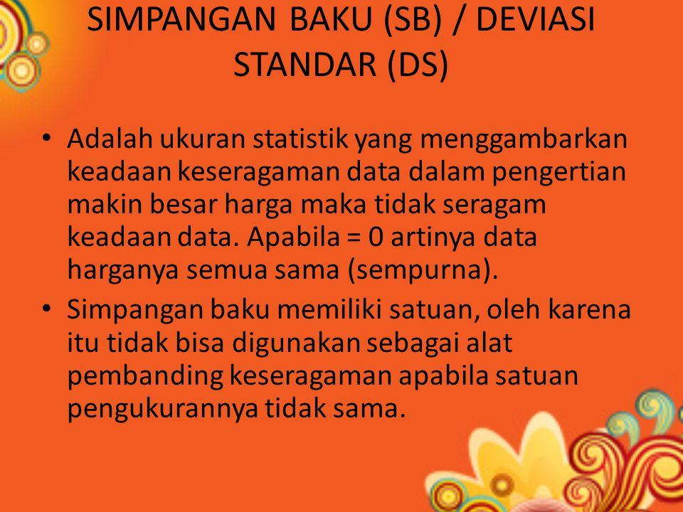 SIMPANGAN BAKU (SB) / DEVIASI STANDAR (DS)