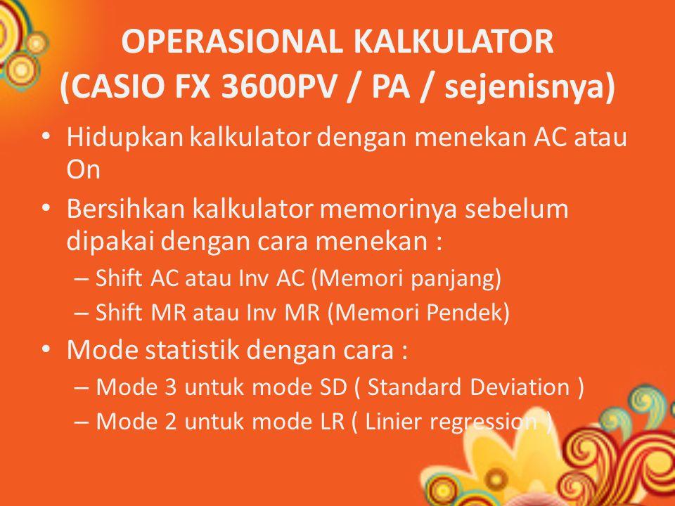OPERASIONAL KALKULATOR (CASIO FX 3600PV / PA / sejenisnya)