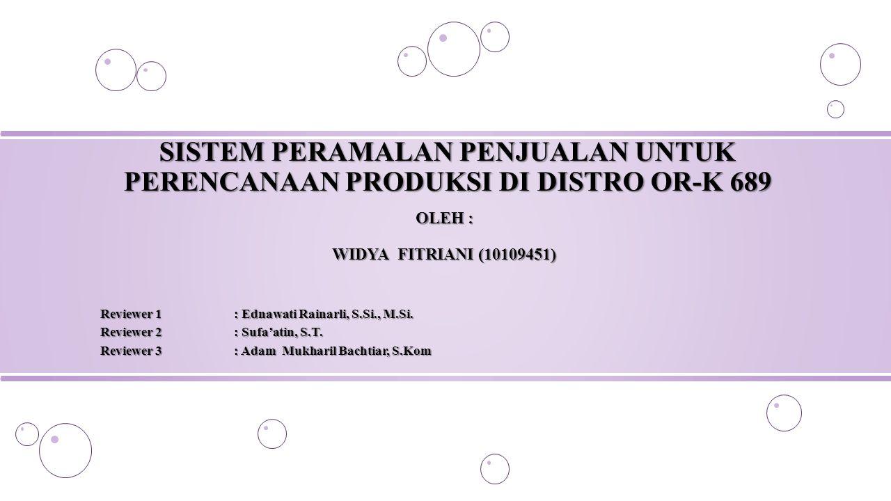 SISTEM PERAMALAN PENJUALAN UNTUK PERENCANAAN PRODUKSI DI DISTRO OR-K 689