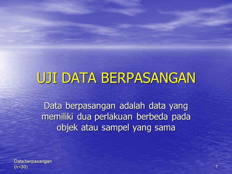 UJI DATA BERPASANGAN Data berpasangan adalah data yang memiliki dua perlakuan berbeda pada objek atau sampel yang sama.