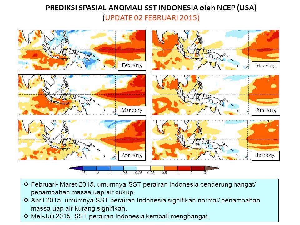 PREDIKSI SPASIAL ANOMALI SST INDONESIA oleh NCEP (USA) (UPDATE 02 FEBRUARI 2015)