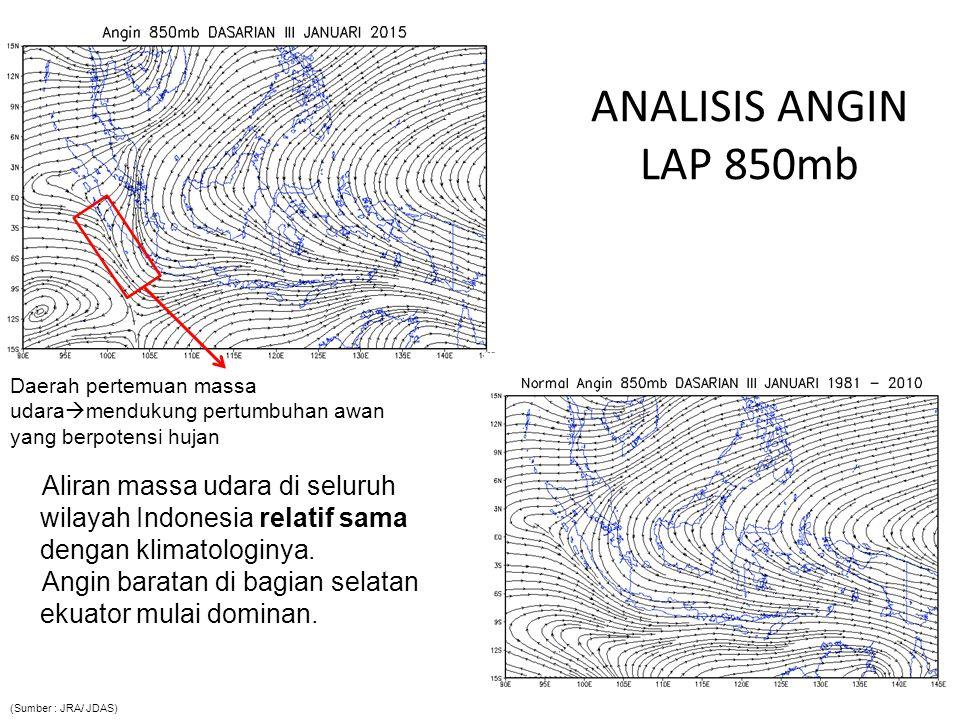 ANALISIS ANGIN LAP 850mb Daerah pertemuan massa udaramendukung pertumbuhan awan yang berpotensi hujan.