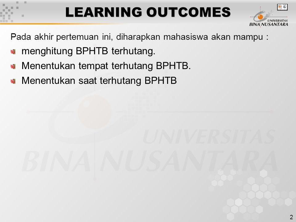 LEARNING OUTCOMES menghitung BPHTB terhutang.