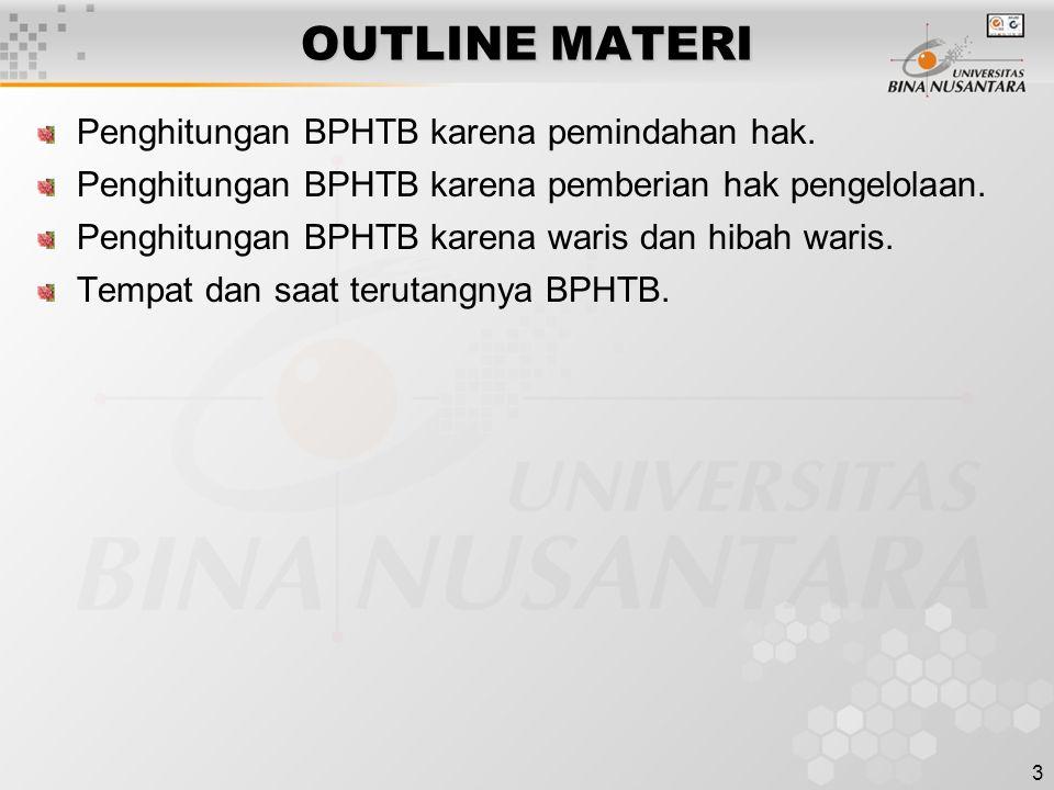 OUTLINE MATERI Penghitungan BPHTB karena pemindahan hak.