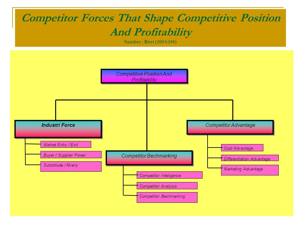 Competitor Forces That Shape Competitive Position And Profitability Sumber : Best (2004:140)