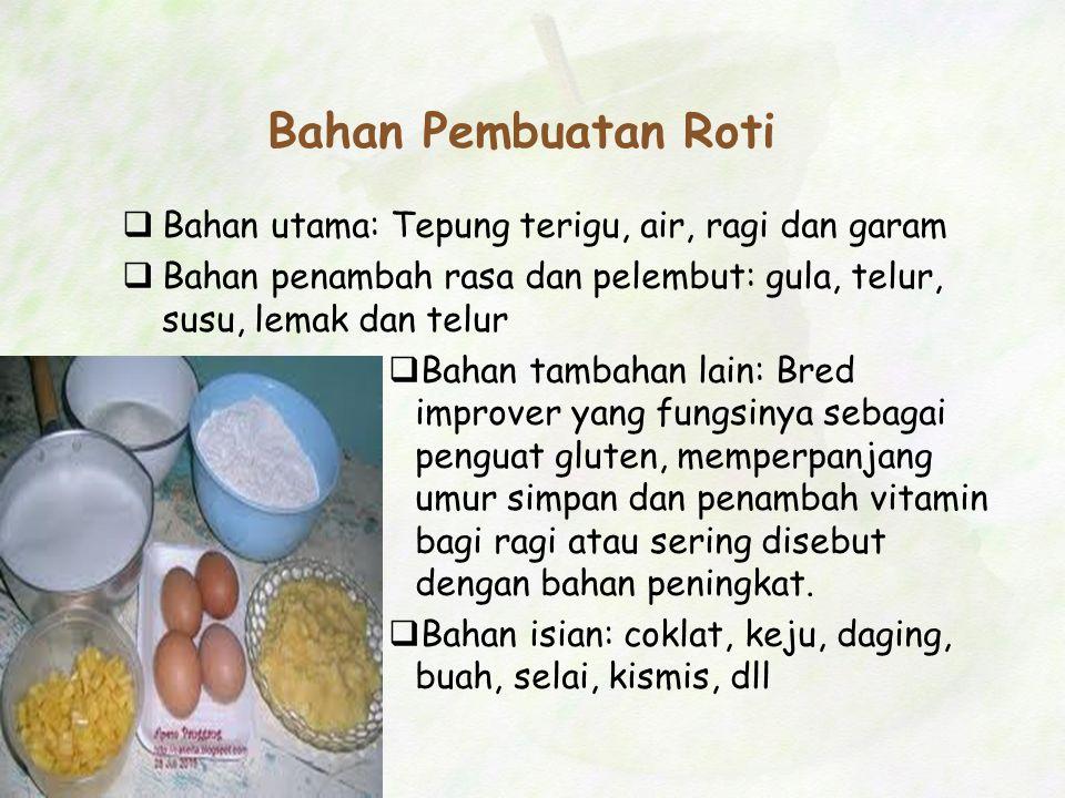Bahan Pembuatan Roti Bahan utama: Tepung terigu, air, ragi dan garam
