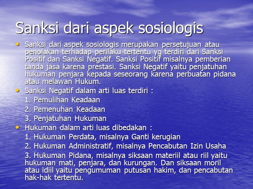 Sanksi dari aspek sosiologis