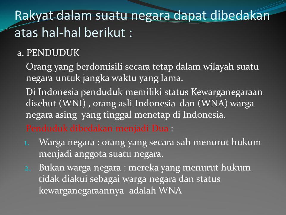 Rakyat dalam suatu negara dapat dibedakan atas hal-hal berikut :