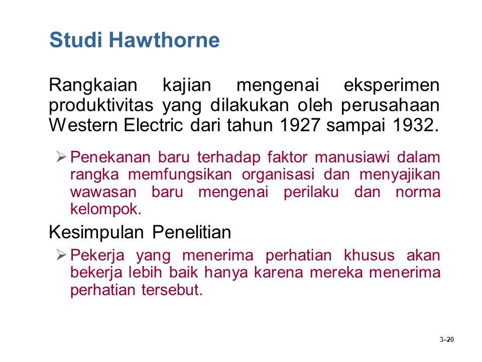 Studi Hawthorne Rangkaian kajian mengenai eksperimen produktivitas yang dilakukan oleh perusahaan Western Electric dari tahun 1927 sampai 1932.