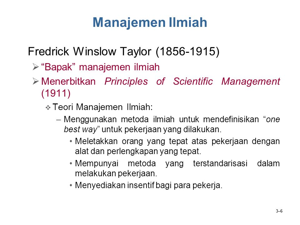 Manajemen Ilmiah Fredrick Winslow Taylor (1856-1915)