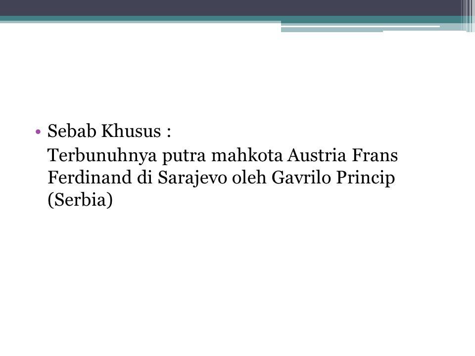 Sebab Khusus : Terbunuhnya putra mahkota Austria Frans Ferdinand di Sarajevo oleh Gavrilo Princip (Serbia)