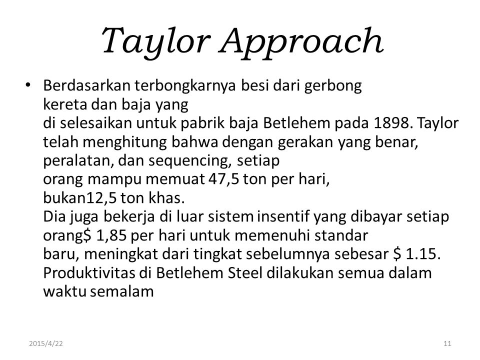 Taylor Approach