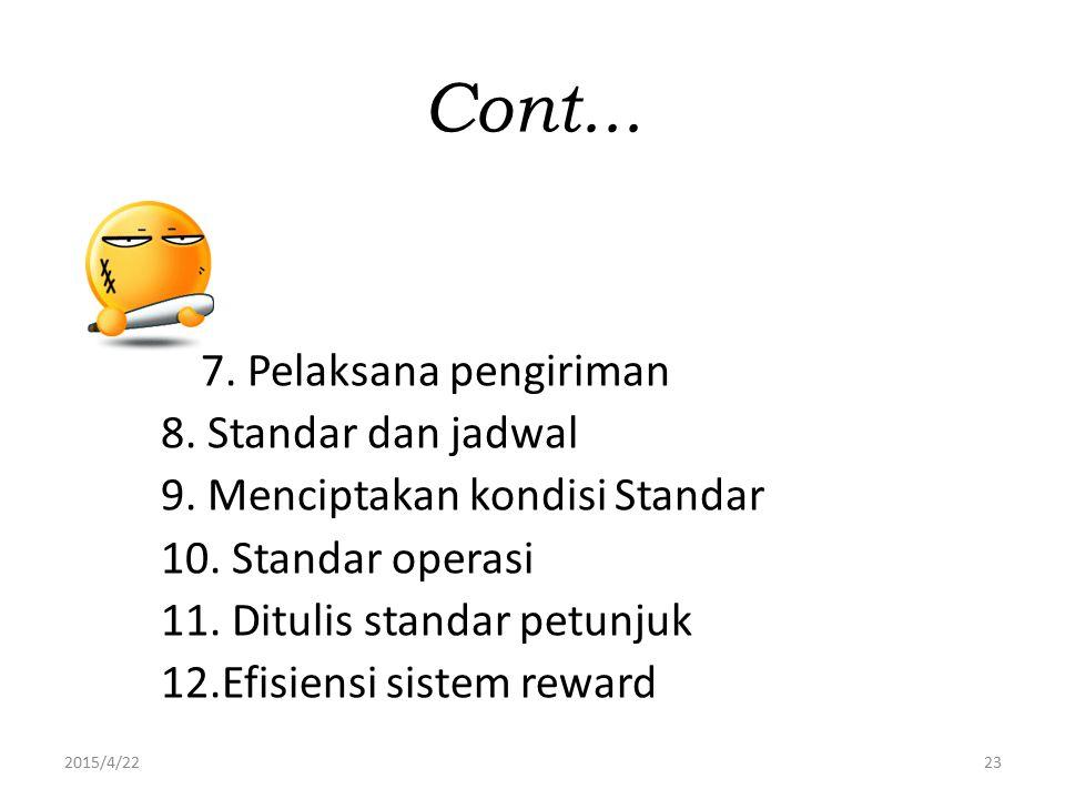 Cont... 7. Pelaksana pengiriman 8. Standar dan jadwal