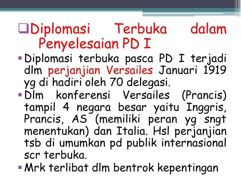 Diplomasi Terbuka dalam Penyelesaian PD I