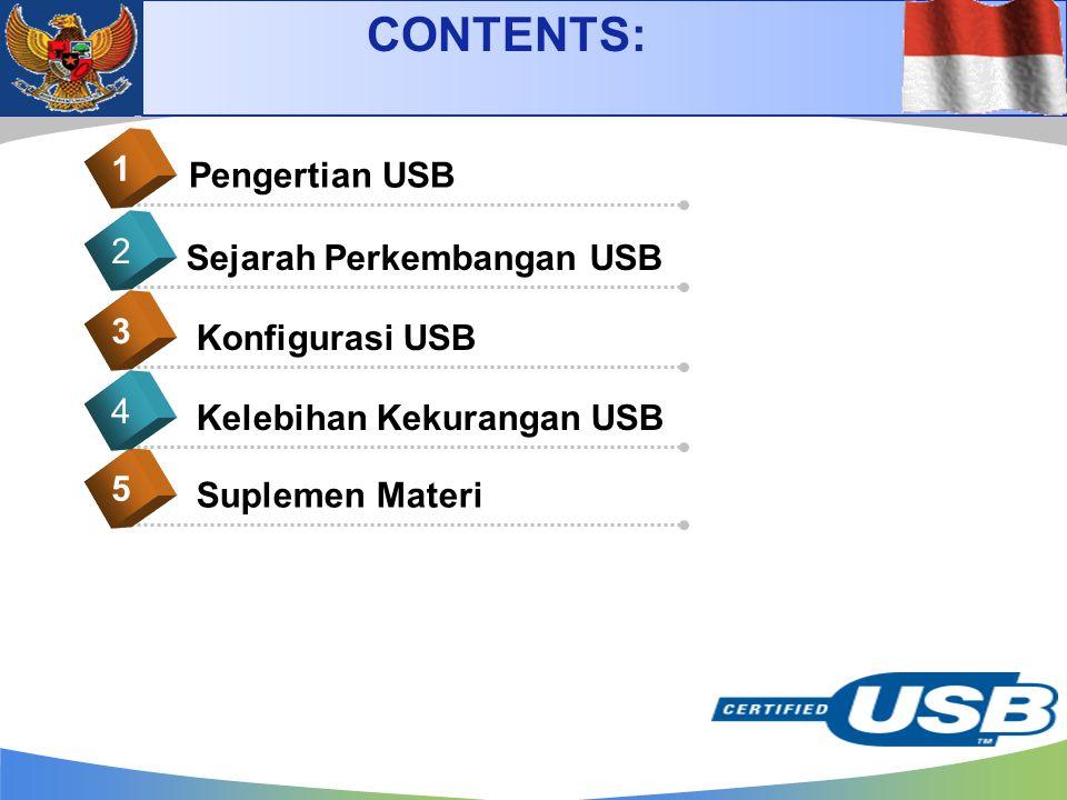 CONTENTS: 1 Pengertian USB 2 Sejarah Perkembangan USB 3